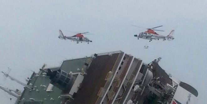 The ferry Sewol is shown sinking in waters off South Korea's southwestern coast April 16.