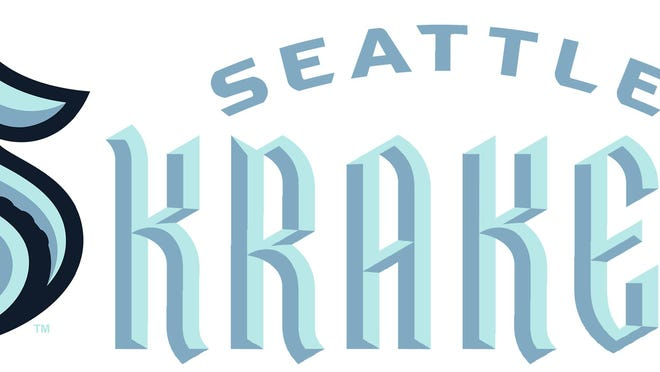 This combo of artists renderings released Thursday, July 23, 2020, by the Seattle Kraken, shows the NHL hockey team's new logo, left, and name.