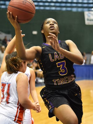 Hattiesburg's Terralyn Ulmer (3) drives against Neshoba Central during MHSAA 5A Girls quarterfinal action held Friday March 3rd, 2017 at the Mississippi Coliseum in Jackson, MS. (Bob Smith-For The Clarion Ledger)