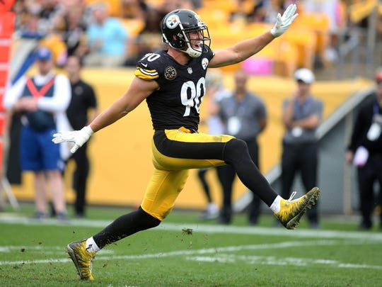 Pittsburgh Steelers outside linebacker T.J. Watt reacts after recording a sack against the Jacksonville Jaguars during the third quarter at Heinz Field. Jacksonville won 30-9.