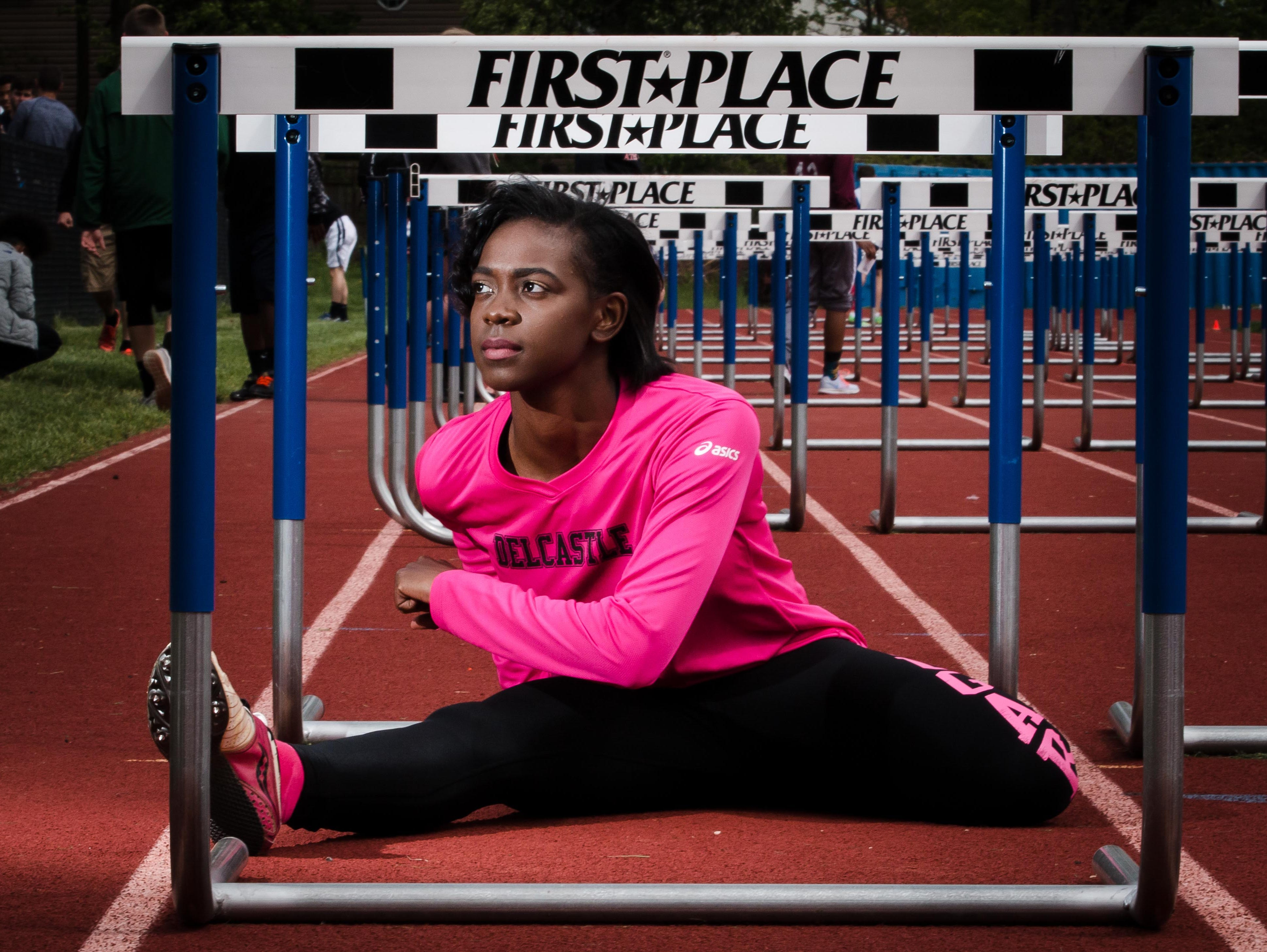 Athlete of the Week Sherita Lowman poses for a photo prior to the Charter Invitational on Monday.