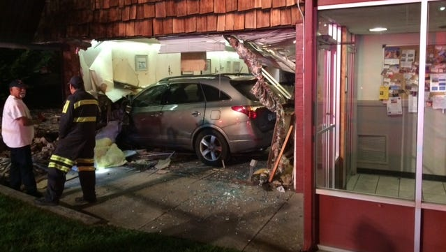 An SUV slid into a Waynesboro restaurant on West Broad Street early Sunday morning, police said.