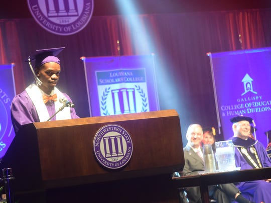 Northwestern State University's student athlete and Jalan West talks about leadership as he introduces Gov. John Bel Edwards as guest speaker at NSU commencement Friday.