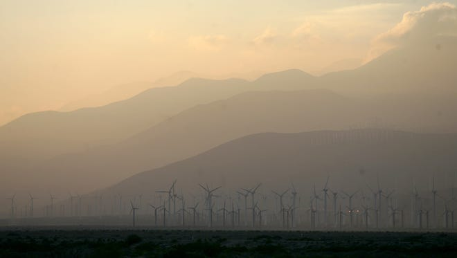 Smog blowing through the Banning Pass is seen from Palm Springs.