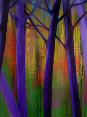 """Morning Mist,"" 48-by-48-inch mixed media on panel by Darlene Prater."
