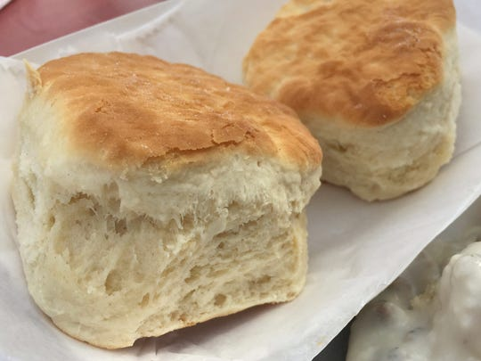 These straight-up biscuits were on the Indy 500 race-day menu in 2015. This year, Clabber Girl goes the extra mile with cheddar cheese mini biscuits smothered in sausage gravy.
