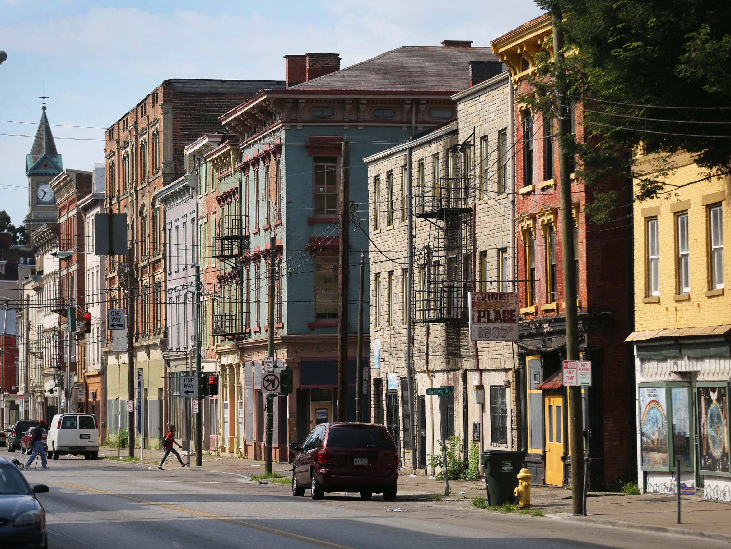 Vine street in Over-the-Rhine, north of Liberty Street.