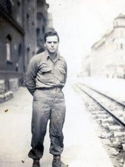 Bernard Beckerman, overseas, in uniform during World