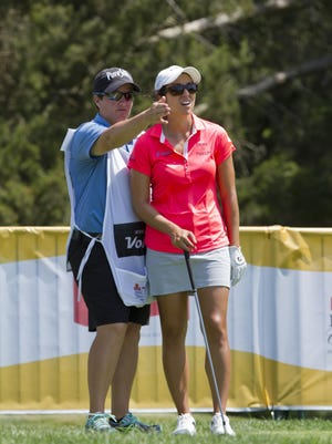 Meaghan Francella caddied for Marina Alex last weekend at the ShopRite LPGA Classic. Francella will caddie again for Alex in the KPMG Women's PGA Championship next week at Westchester Country Club.
