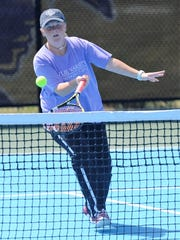 Wylie's Elle Schroeder hits a shot during the first day of the District 5-4A tournament at the Hardin-Simmons University Streich Tennis Center on Wednesday, April 4, 2018. Schroeder and girls doubles partner Andrea McMillan reached the final.