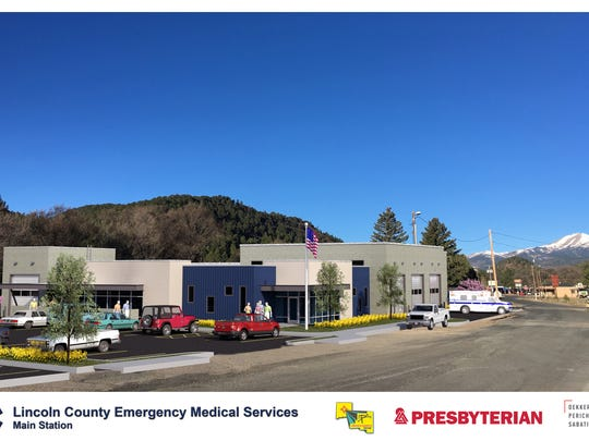 A rendering of  the new Emergency Medical Services complex's design was presented Tuesday. The view is looking northwest on El Paso Road toward Midtown Ruidoso.