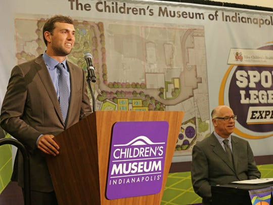 Indianapolis Colts QB Andrew Luck, left, and Children's Museum of Indianapolis CEO, Dr. Jeffrey H. Patchen, right,  take part in the press conference announcing a $35 million dollar outdoor sports park expansion of the  Children's Museum of Indianapolis, held at the JW Marriott, Wednesday June 29th, 2016.