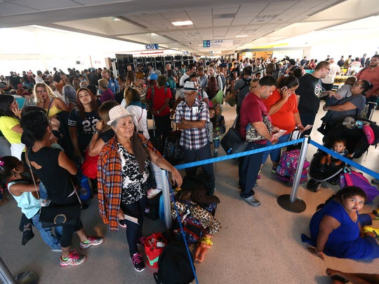 Passengers at Luis Munoz Marin International Airport
