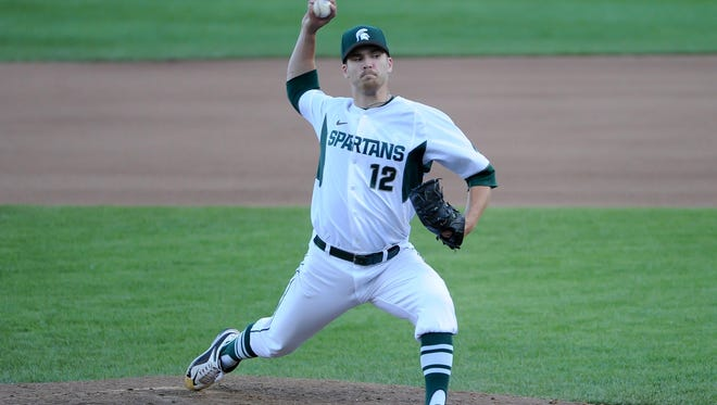 Spartans pitcher Jake Lowery pitches in relief during the loss to Ohio State in the Big Ten Baseball Tournament at TD Ameritrade Park.