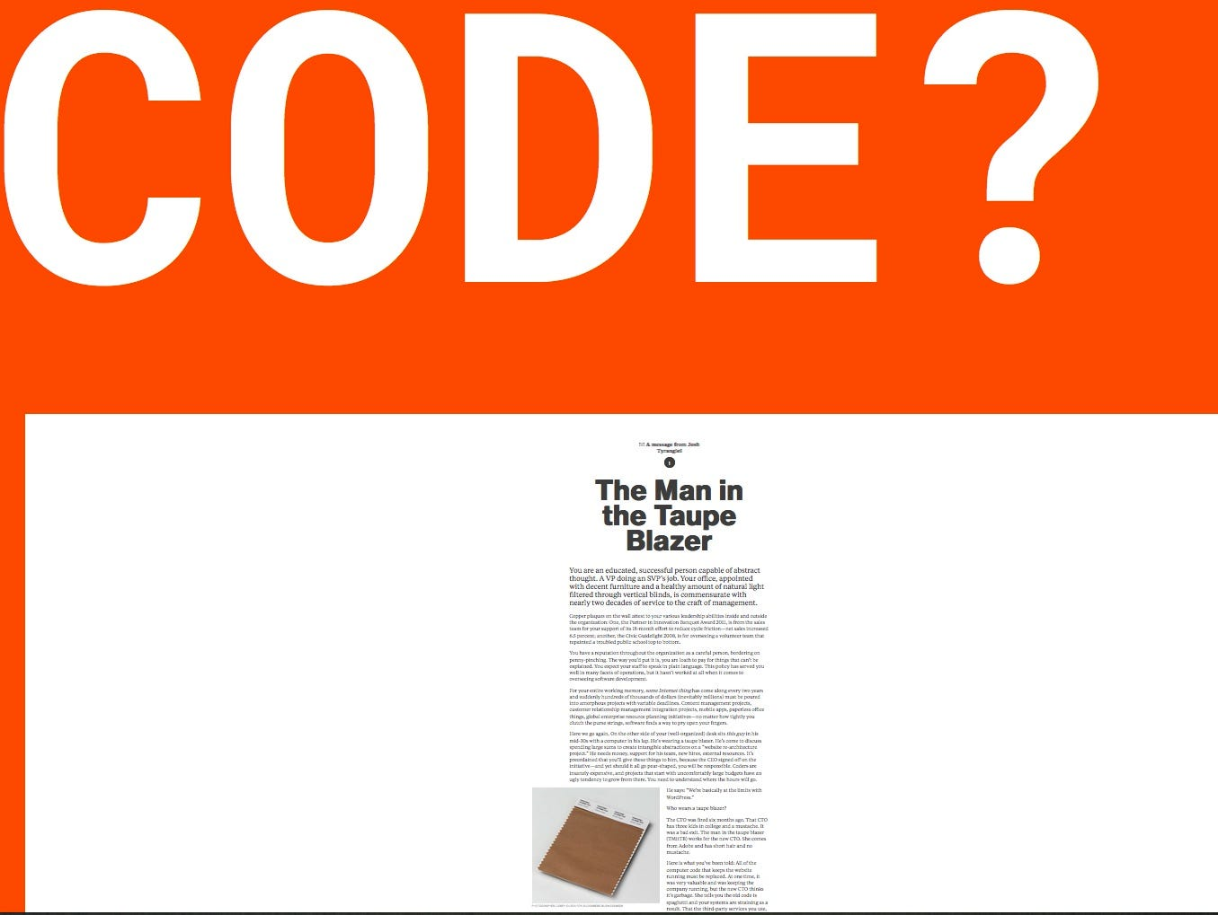 A screenshot of the Code: An Essay      http://www.bloomberg.com/graphics/2015-paul-ford-what-is-code/