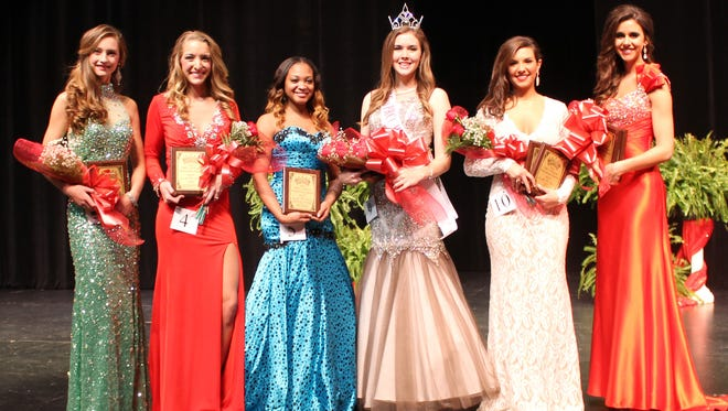 Kaitlin Cooper of Picayune is Miss PRCC Wildcat 2015 following competition Thursday, Jan. 29, at the Brownstone Center. She also won the judges' interview competition. Other winners are, from left, Reese Johnson of Carriere,second alternate; Abby Lowry of Hattiesburg, fourth alternate; Kathryn Minor of Hattiesburg, physical fitness award; Amber Pineda of Hattiesburg, first alternate and presence and composure winner; Belle Failla of Picayune, third alternate and Miss Congeniality.