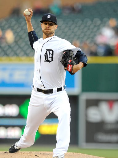 Detroit Tigers' starting pitcher Shane Greene (61)