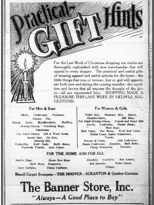 1927 Banner Store Christmas ad from the News Leader. The Banner Store was located on West Beverley Street across from the town clock building.
