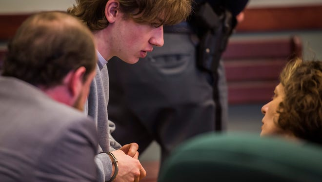 Jack Sawyer, 18, of Poultney appears in Vermont Superior Court in Rutland on Tuesday, April 17, 2018, for a hearing to determine whether bail or conditions of release should be set for Sawyer, who the state says was planning a school shooting at Fair Haven Union High School. (POOL photo by Ryan Mercer / Burlington Free Press)