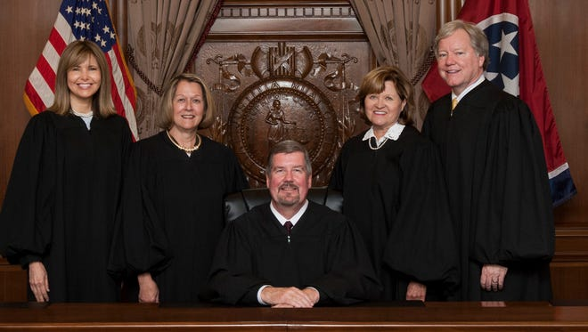 The Tennessee Supreme Court, from left to right: Justice Holly Kirby, Justice Cornelia A. Clark, Chief Justice Jeffrey S. Bivins, Justice Sharon G. Lee and Justice Roger A. Page