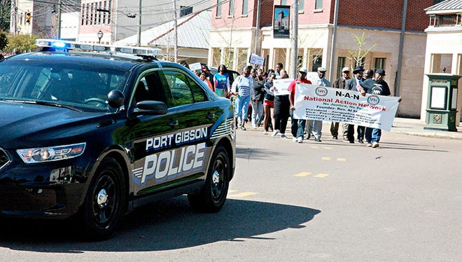 More than 100 people showed up downtown in Port Gibson. Miss.,  Saturday, April 4, 2015, for a protest march and demonstration against the way the Otis Byrd investigation has been handled.