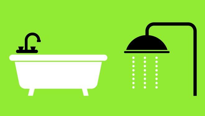 Water-saving tip: Choose a shower over a bath.