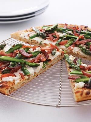 Bacon and Asparagus Flatbread with Garlic Ricotta