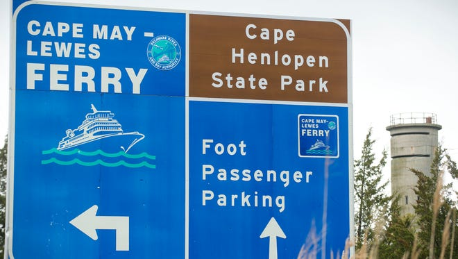 Directional sign for the Ferry and State Park in Lewes.