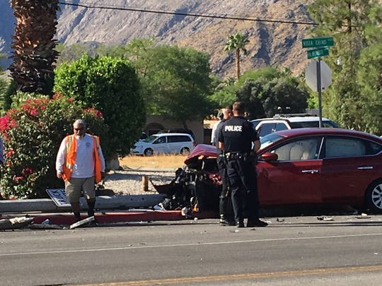 This October 2017 photo shows Palm Springs police at the scene of a collision at Vista Chino and Via Miraleste. A traffic signal may be installed at the intersection as early as October, officials say.