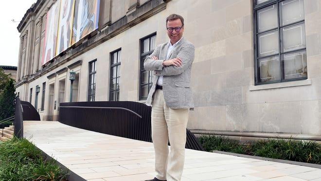 Worcester Art Museum Director Matthias Waschek stands outside the museum's Salisbury Street entrance.