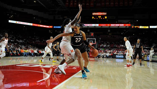 South Carolina's A'ja Wilson (22) drives around Maryland's Brianna Fraser during the second half.