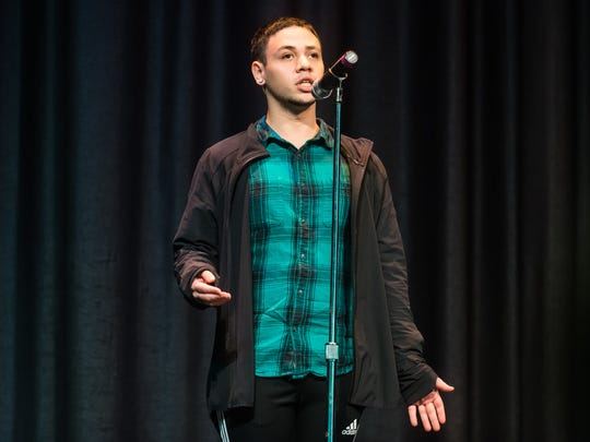 Issac Rodriguez recites 'The Negro Speaks of Rivers' by Langston Hughes during the Poetry Out Loud Competition at Vineland High School on Tuesday, January 16.