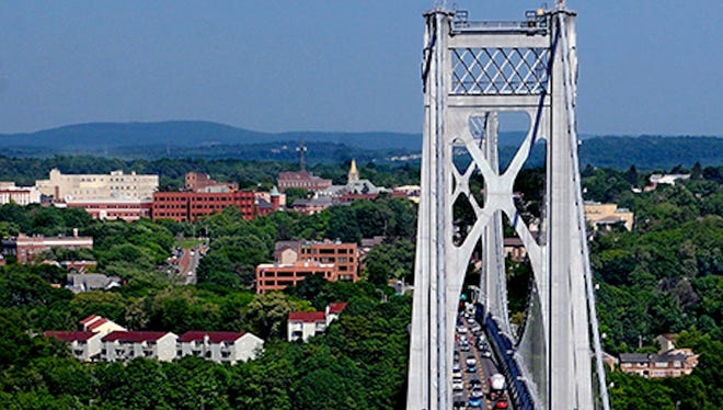 A look at the Mid-Hudson Bridge and the City of Poughkeepsie from the overlook at Franny Reese State Park in Ulster County.