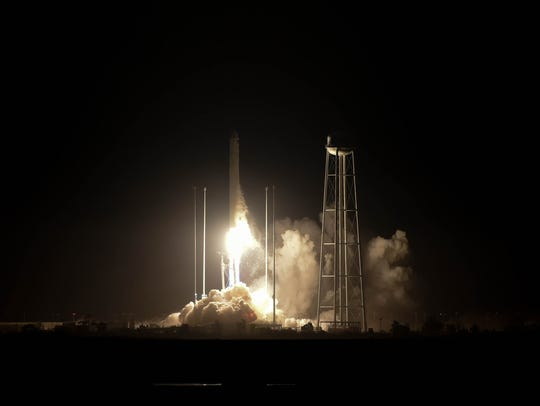 The Antares OA-9 rocket successfully launches from