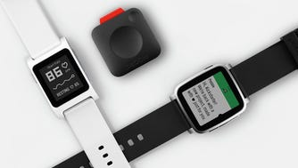 From left, the Pebble 2, Pebble Core and Pebble Time 2.