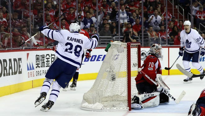 Leafs' Kasperi Kapanen celebtrates after scoring the winning goal against the Capitals on Saturday.
