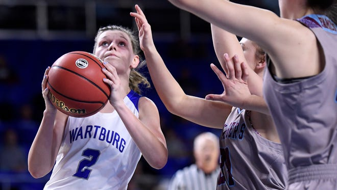 Wartburg Central's Hannah Hurtt (2) takes a shot during a Div. I-A state quarterfinal girls basketball game between Wartburg and Unaka at Middle Tennessee State University in Murfreesboro, Tenn. Thursday, March 8, 2018.