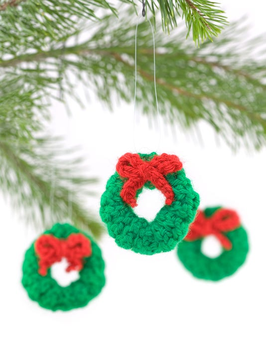 Crocheted Wreath Christmas Decorations