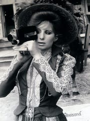 A photograph of Barbara Streisand during the filming