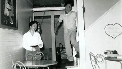Mary Wilbur Grellman, left, and with classmate Bob Hartman in basement rec room of her parents' home in South Salem.