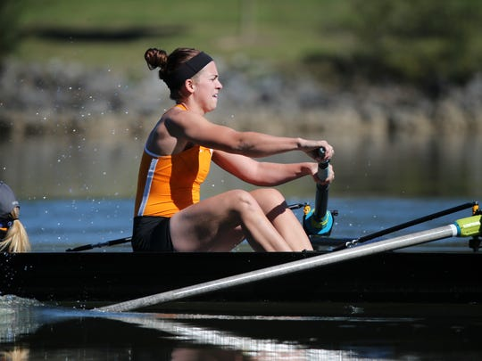 Tennessee's Nicole Chojnacky, was part of the Second Eight boat Saturday that qualified for the Grand Final of the Big 12 Rowing Championship on Melton Hill Lake in Oak Ridge.