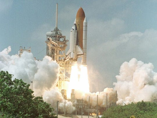 The Space Shuttle Columbia lifts off Friday, April