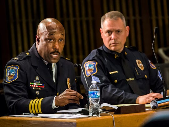 Wilmington Police Chief Bobby Cummings discusses the proposed budget for the department during a meeting of the Wilmington City Council Finance Committee on Wednesday evening.