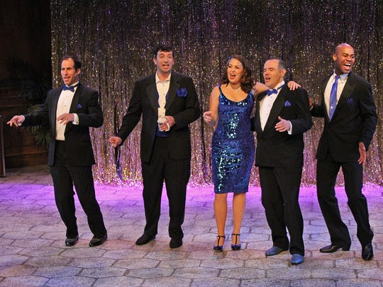 "Marcus Goldhaber, Matthew Krob, Blaire Baker, Jason Plourde and Scotland Newton sing ""Birth of the Blues"" in Cortland Repertory Theatre's production of ""The Rat Pack Lounge"", running Aug. 29 to Sept. 8."