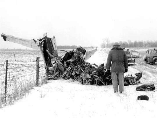"*** DO NOT USE *** Elwin Musser's photo of the plane crash site north of Clear Lake, taken Feb. 3, 1959. Rock 'n' roll musicians Buddy Holly, Ritchie Valens, and J. P. ""The Big Bopper"" Richardson were killed along with pilot Roger Peterson."