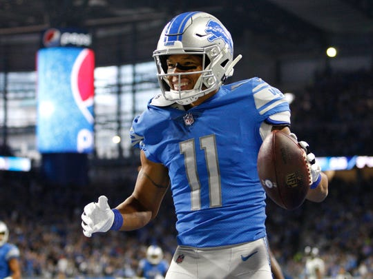 Oct 28, 2018; Detroit, MI, USA; Detroit Lions wide receiver Marvin Jones (11) celebrates after scoring a touchdown during the first quarter against the Seattle Seahawks at Ford Field. Mandatory Credit: Raj Mehta-USA TODAY Sports