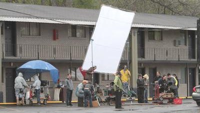 """The film crew for """"Dancer and the Dame"""" on location in Monroe in April 2014. The movie airs Sunday on UPtv at 6 p.m., 8 p.m. and midnight."""