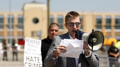 Robert Ransdell of the National Alliance, called a white supremacist group by the Anti-Defamation League, at a 2012 rally. He's a write-in for U.S. senator from Kentucky.