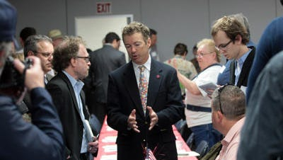 U.S. Sen. Rand Paul, R-Ky., talks to Iowans at the North Liberty Community Center on Saturday, May 11, 2013.