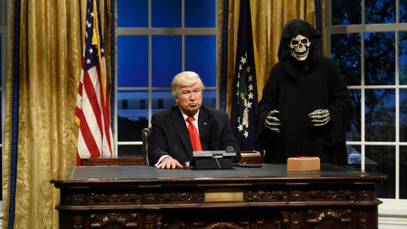 Alec Baldwin as President Donald J. Trump, Mikey Day as advisor Steve Bannon during the Oval Office Cold Open on February 4th, 2017.